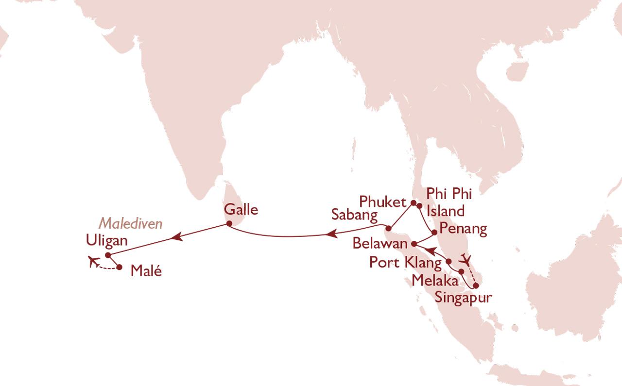 Kreuzfahrt Singapur - Malé Malediven