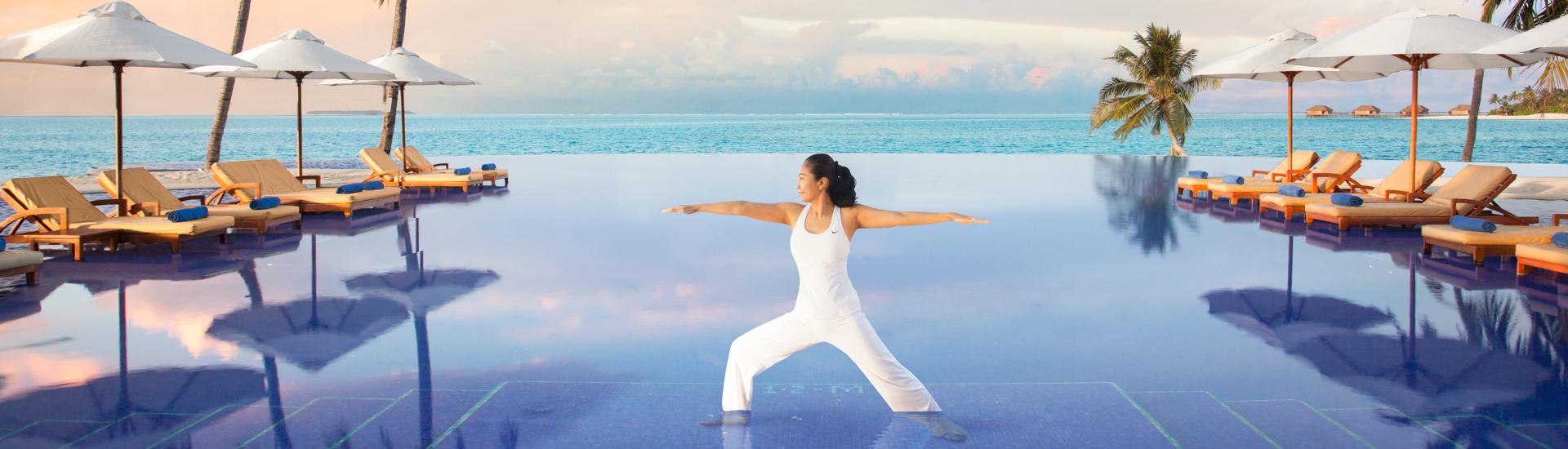 Conrad Maldives infinity view pool with yoga